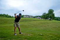 Playing golf at Steele Hill