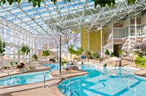 The indoor pool inside the glass atrium at Steele Hill