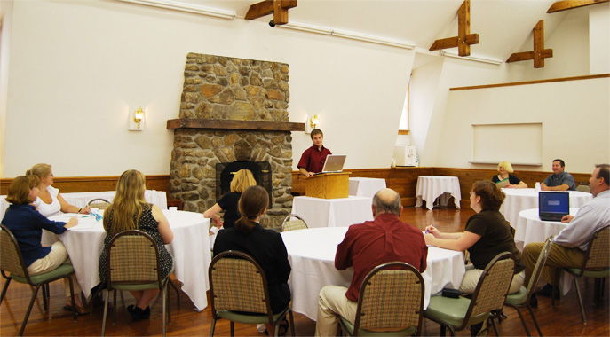 A presentation in the Conference Center at Steele Hill
