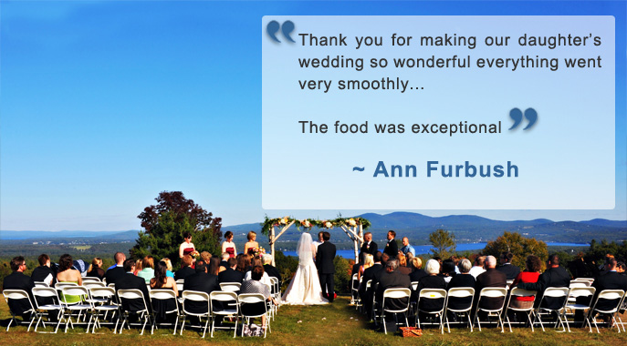 A wedding ceremony overlooking Lake Winnisquam with a testimonial quote