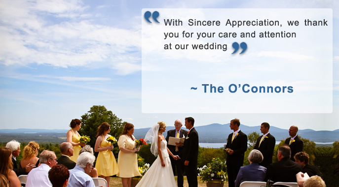 A bride and groom in the midst of a ceremony with an accompanying testimonial quote
