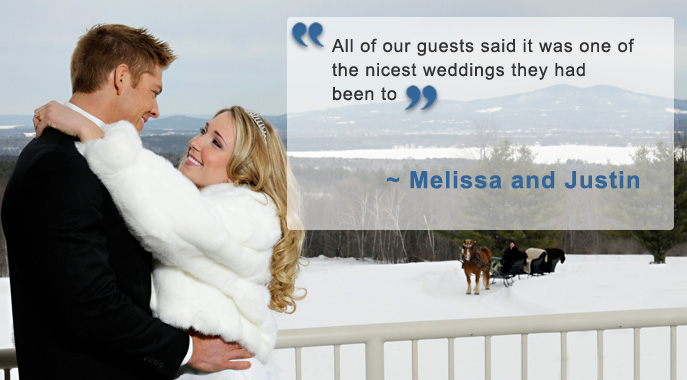 A wedding couple embraces infront of a snowy scene with a testimonial quote