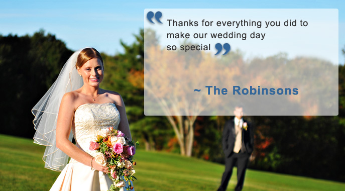 A smiling bride and an accompanying testimonial quote