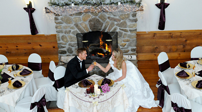 A fireside wedding toast at Steele Hill's Carriage House