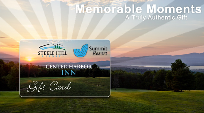 A giftcard for Steele Hill and The Summit Resort displayed infront of the view
