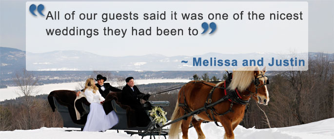 A wedding couple embraces infront of a snowy scene with a testimonial quote.